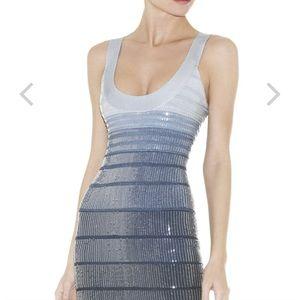 HERVE LEGER EBBA SEQUINED BANDAGE DRESS
